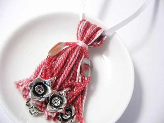 Silver Roses and Agate Heart Striped Red Beaded Tassel Ornament
