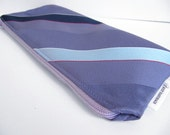 40% OFF - - Necktie Zipper Pouch Lavender Stripes Pencil Case Recycled