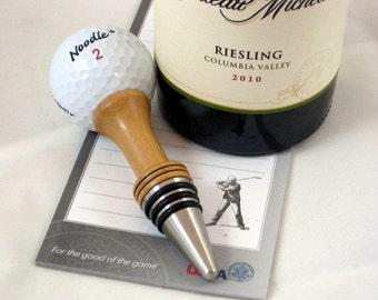 Wine Bottle Stopper Golf Ball On The Tee Cherry Wood Stainless Steel Barware