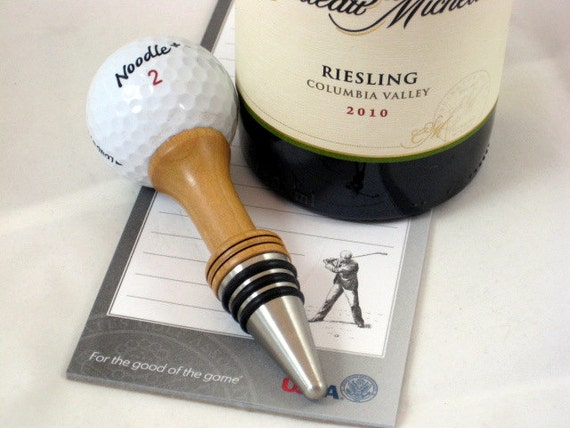 Golf Ball Wine Bottle Stopper On The Tee Cherry Wood Stainless Steel Barware
