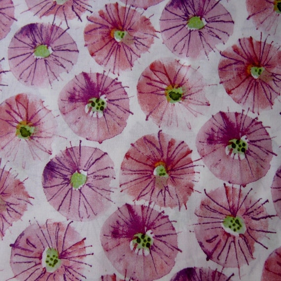 Sundrops Mulberry Wildflower by Kathy Davis 100% Cotton Fabric from Free Spirit   - 1/2 YD
