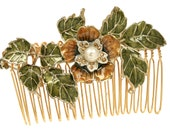 The Green flower comb, perfect gift, birthday, bridesmaid, girlfriend, best friend, sister, mom