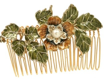 Green flower comb, Floral Comb, Boho Jewelry, Flower Girl, Unique Jewelry, Unique Hair Accessoreis, Hand Made, Enamel Leaves Comb, Nature