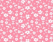 Wallpaper Flowers from Children at Play Meadow by Sarah Jane for Michael Miller, Pink and White Flower Fabric-1 yard