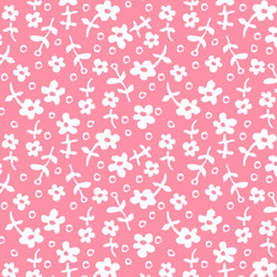 Wallpaper Flowers from Children at Play by Sarah Jane for Michael Miller, Pink and White Flower Fabric-1 yard