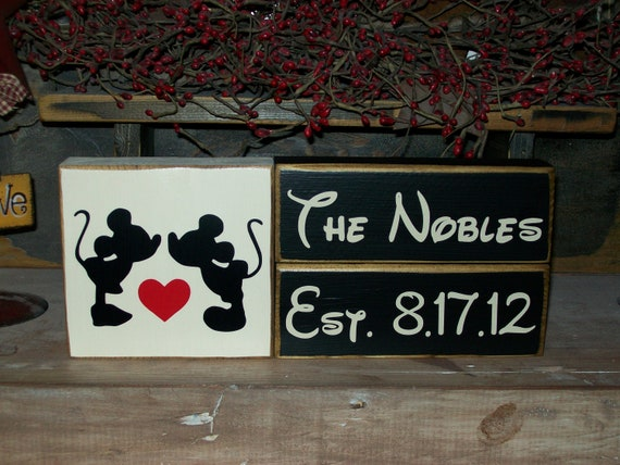 Primitive Mickey & Minnie Mouse Wood Sign Blocks Distressed Marriage Family Established Date Disney Blocks Customize