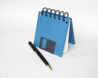 Floppy Disk Notebook - Geek Book - Recycled Computer Diskette - Blue - Stocking Stuffer