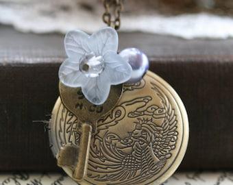 Locket Necklace , Forget Me Not , Key Locket , Birthday , Gold Round  Locket , 21st Birthday Gift , Key Locket , Gold Key Locket  - Ella
