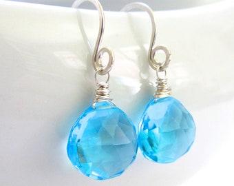 Blue Gemstone Earrings, Swiss blue quartz, sterling silver wire wrapped, dangling teardrop handmade earrings