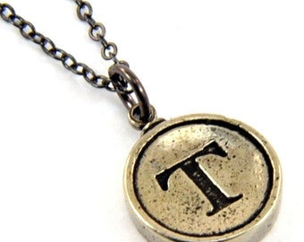 Letter T Necklace - White Bronze Initial Typewriter Key Charm Necklace - Gwen Delicious Jewelry Design GDJ