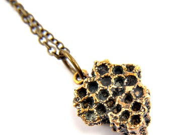 Honey Bee Comb Bronze Necklace - Bee