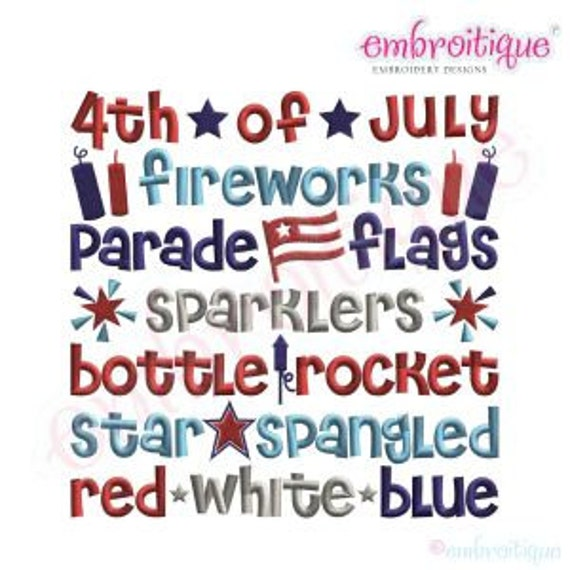 4th of July Word Block- Instant Email Delivery Download Machine embroidery design