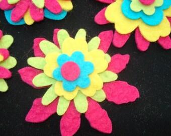 Wool Felt Flowers - Brights