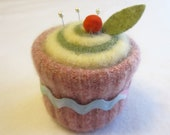 Cupcake Pincushion Felted Wool Upcycled Felted Wool Pink, Yellow, and Green with Pastel Ric Rac
