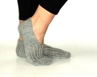 House Slippers, Grey, Wool ,Slippers, Handmade Slippers,Women Slippers