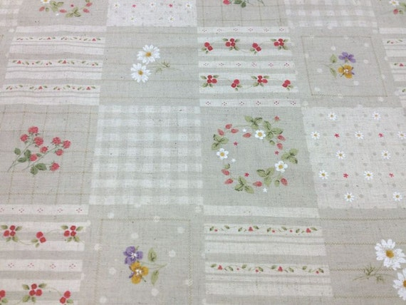 Japanese Cotton & Linen  Blended Print Fabric - Lecien, Half Yard - Lovely Natural Floral Flower 2 - NT395