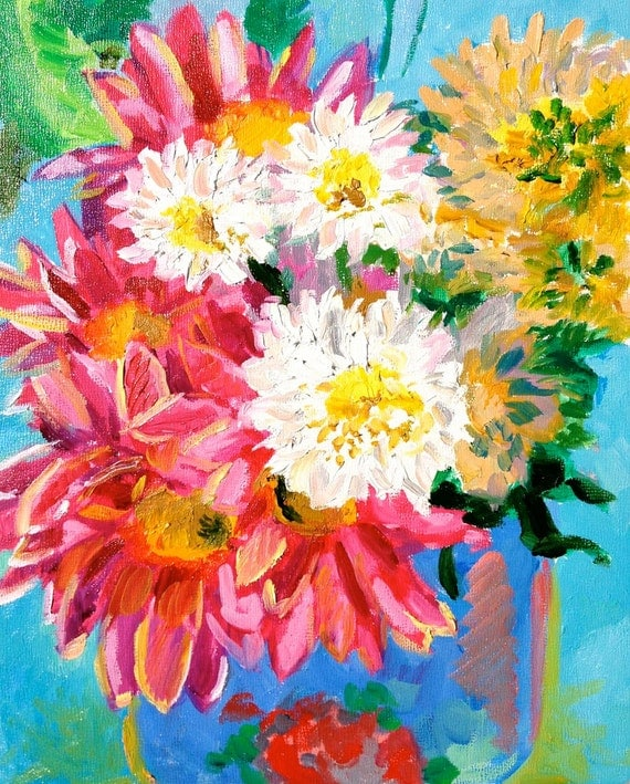 Pink Daisy Painting 8x10