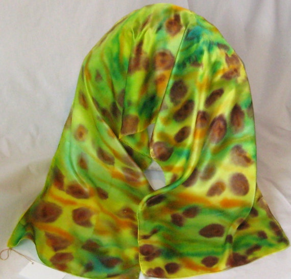 Silk Scarves, Hand Designed,Light Greens, Leopard Spots,( It's A Jungle Out There),Aussie Scarf,Or Table Runner