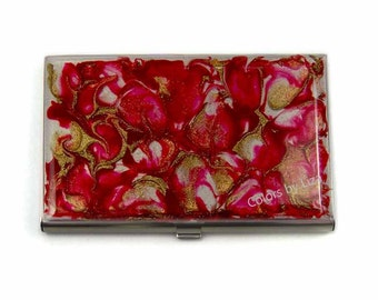 Business Card Case in Hand Painted Enamel in Red Garnet Quartz Inspired Metal Wallet Personalized and Custom Color Options