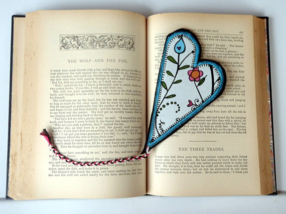Valentine Heart Bookmark: Fabric wih Flowers and Lady Bugs, turquoise