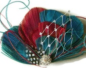 Peacock Hair Fascinator TURQUOISE CHERRY Rockabilly Clip Perfect for a Bride or Bridesmaid with Silver Netting