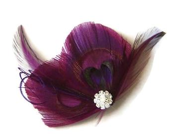 Peacock Hair Clip MAGENTA HEART Purple Peacock and Rhinestone Wedding Hair Fascinator Clip