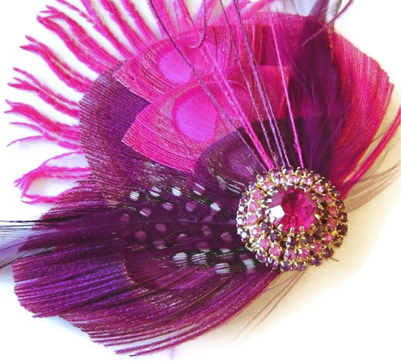 RESERVED Listing Pink Peacock Feather SWEET Bridal Hair Fascinator Clip with Vintage Hobe' Jewel OOAK