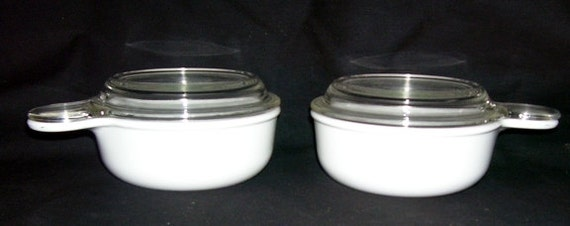2 White Pyrex Corning Ware Grab It Handle 15 Oz Bowls