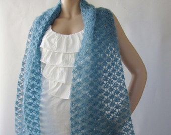 Crochet Scarf - Women's Scarves, Sequined Mohair, Sea Breeze