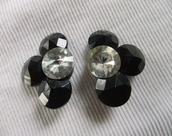 Vintage Earrings Clip On Black and Clear Plastic Costume Jewelry Retro