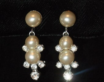 Vintage Earrings Faux Pearl and Rhinestone Screw Back Silver Tone Costume Jewelry Wedding
