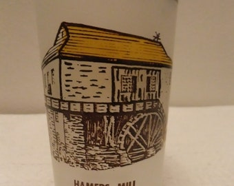 Vintage Hazel Atlas Spring Mill State Park Mitchell Indiana Souvenir Glass Tumbler Frosted Yellow Brown