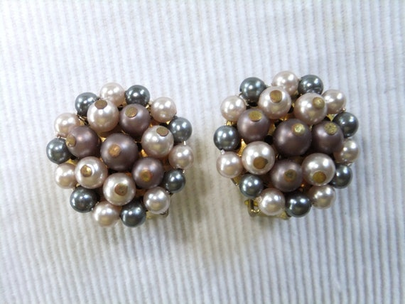 Vintage Clip On Earrings Pink Gray Beads Japan Round Costume Jewelry Stamped