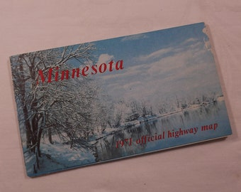 Vintage map of Minnesota dated 1971, blue snowy lake scene, official highway map, summer roadside park, mileage route, minneapolis, st paul