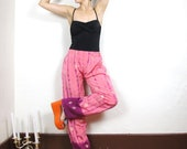 Pink Tie Dye Embroidered Slouchy Sari Pants (S/M)