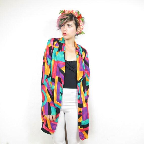 80s Colorful Geometric Slouchy Blazer (M/L)