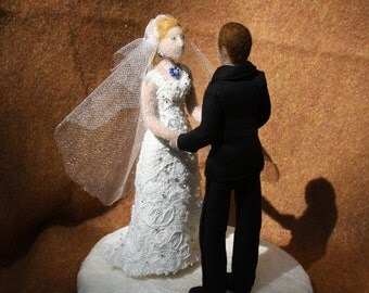 Unique Custom Needle Felted Wedding Cake Topper - Custom - Personalized