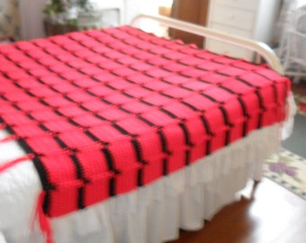New(Ready to Ship) Crocheted Afghan - Blanket- Throw - Coverlet - Bedspread  ''BLOCKS''   in Red and Black