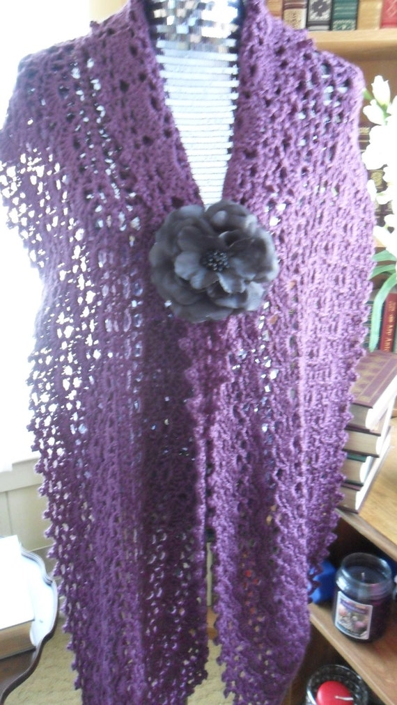 New(Ready to Ship) Crocheted  Wrap - Scarf - Shawl - Cape with Flower Brooch - Women's Wear -  Accessories  ''OASIS''  in Dark Orchid
