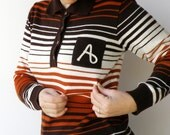 Vintage 1970s Striped Brown and Copper Monogrammed Sweater