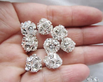 10pcs bright silver crystal 10mm round beads