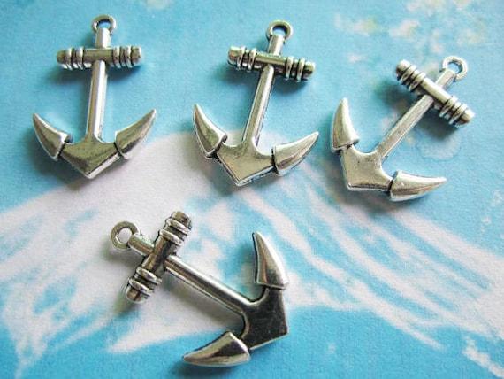 15pcs tibetan silver 28x19.5mm boat anchor charns pendant findings