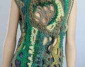 Thick Freeform Crochet Sweater - Vest  - Top - Tunic -Wearable Art - OOAK
