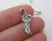 14 Angel wing  charms antique silver tone AW11