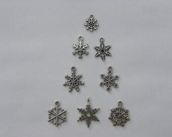 The Snowflake Collection - 8 different antique silver tone charms