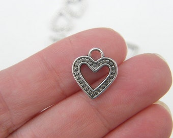 12 Heart charms ( double sided ) 14 x 13mm antique silver tone H37