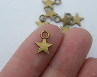 BULK 50 Star charms antique bronze tone S12