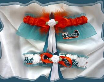 Jade and Orange Organza Wedding Garter Set Made with Miami Dolphins Fabric OB