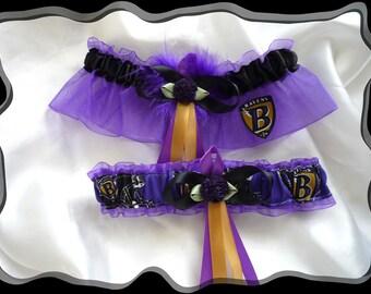 Purple Organza Wedding Garter Set Made with Baltimore Ravens Fabric PB