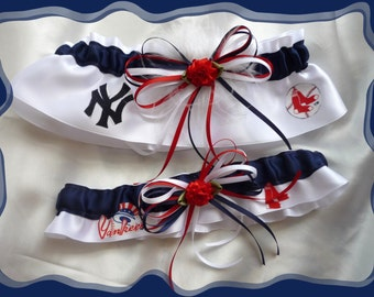 White Satin Combo Wedding Garter Set Made with Yankee and Red Sox Fabric